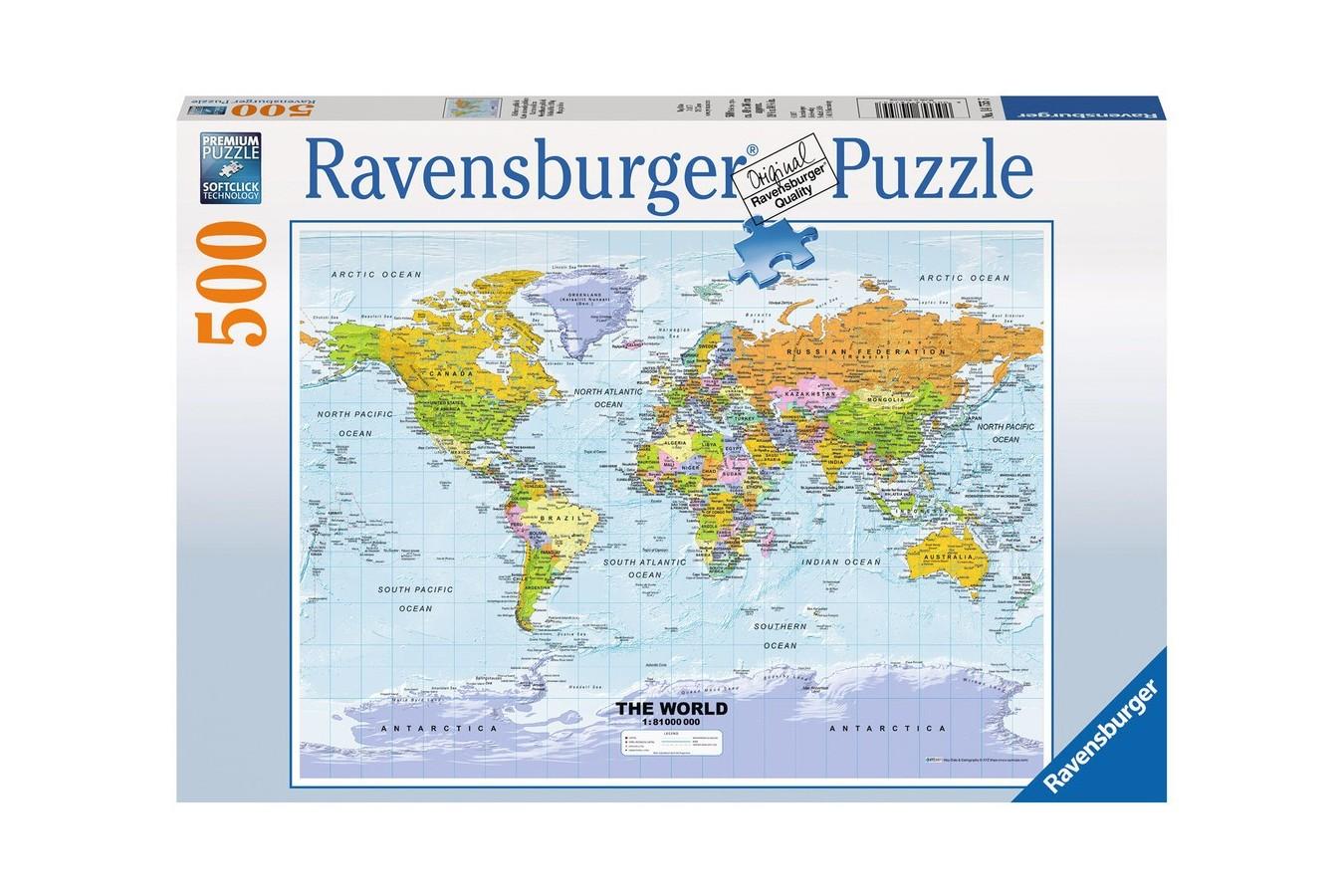 Puzzle Ravensburger - Harta Politica A Lumii, 500 piese (14755)