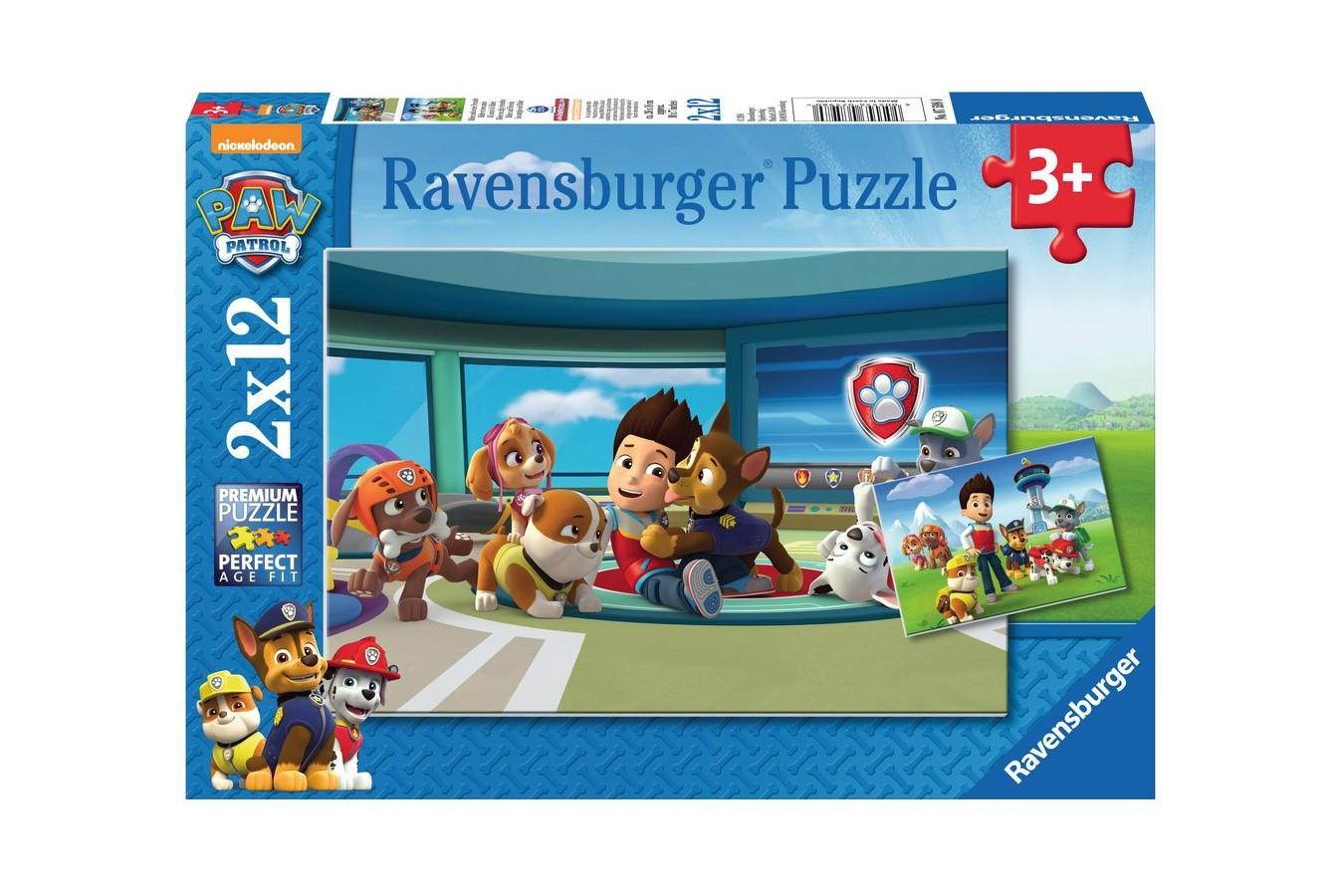 Puzzle Ravensburger - Patrula Catelusilor, 2x12 piese (07598)