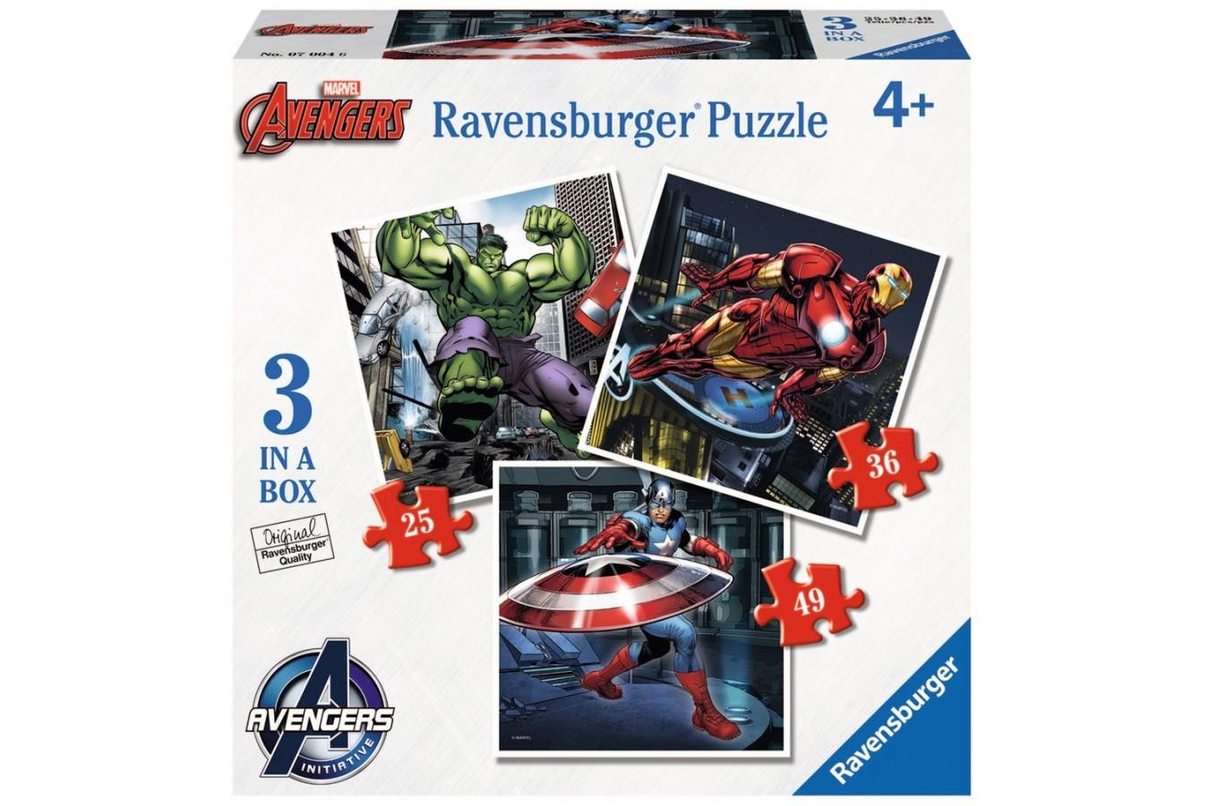 Puzzle Ravensburger - Razbunatorii, 25/36/49 piese (07004)