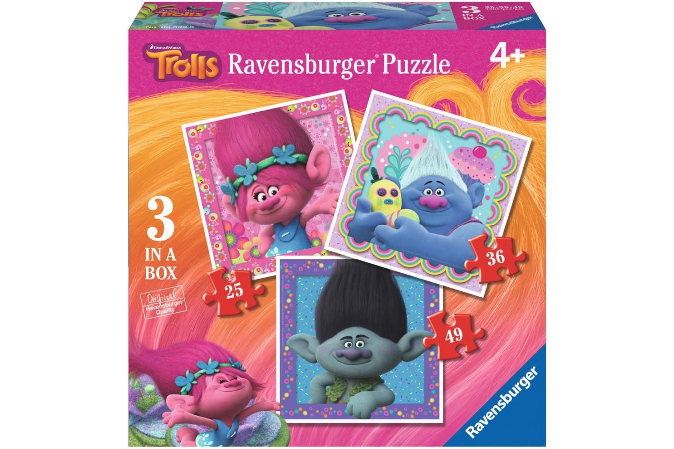 Puzzle Ravensburger - Trolls, 25/36/49 piese (06899)