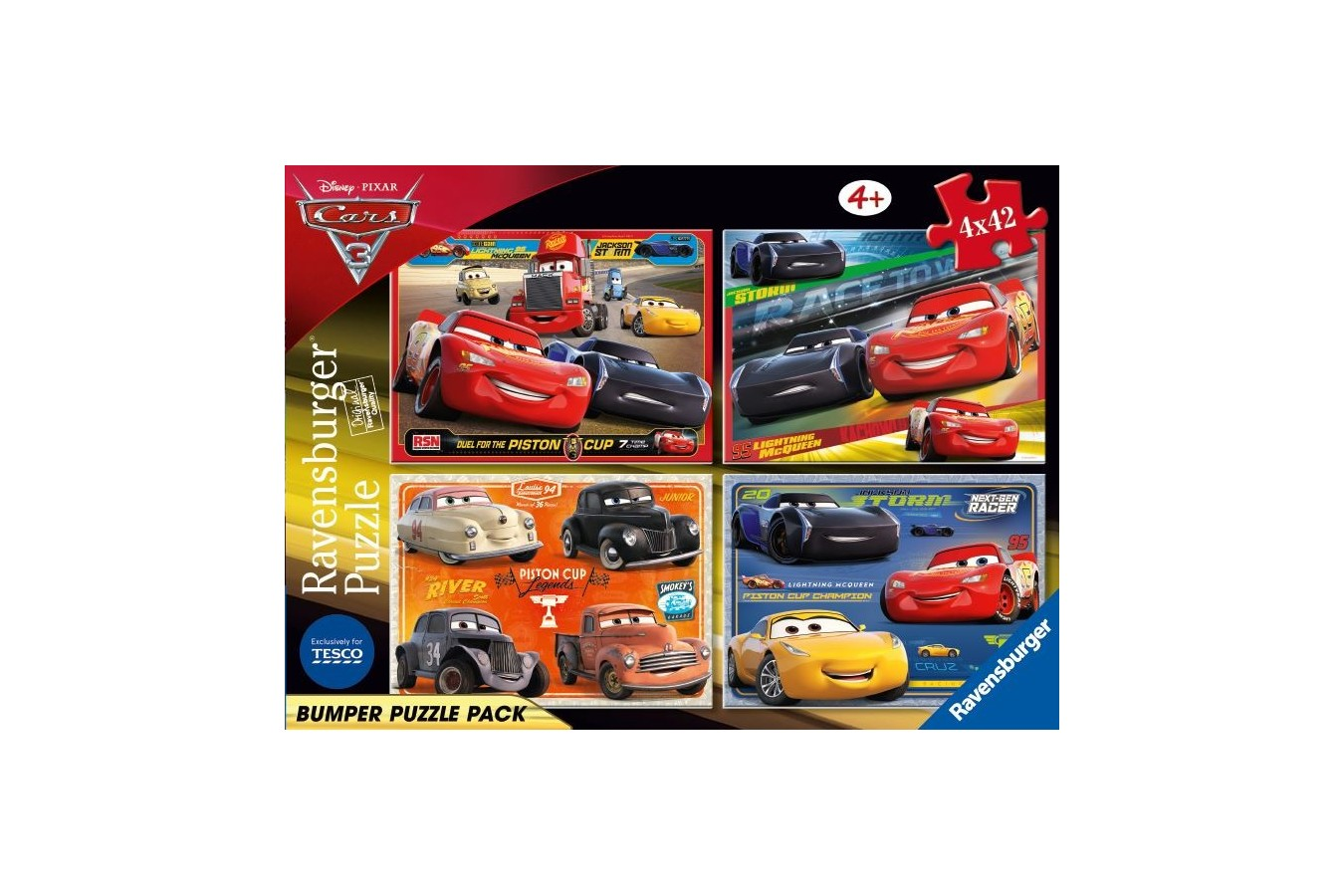 Puzzle Ravensburger - Cars, 4x42 piese (06927)