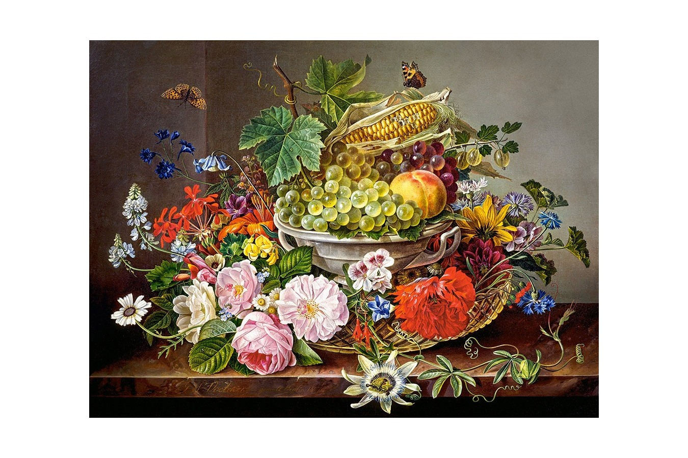 Puzzle Castorland - Still life with flowers and fruit basket, 2000 piese