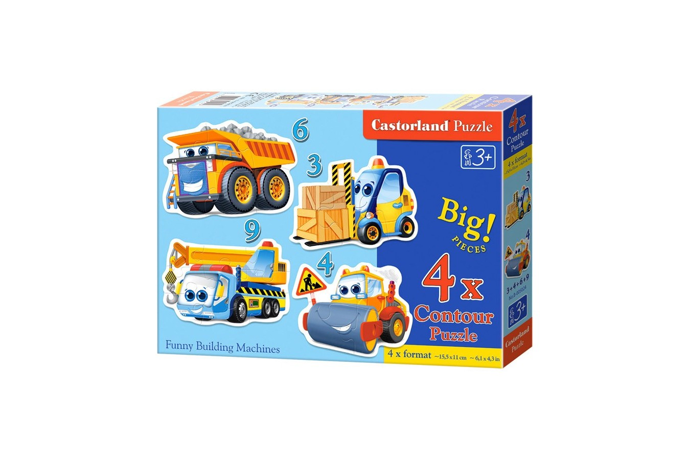 Puzzle 4 in 1 Castorland - Funny Building Machines, 3/4/6/9 piese