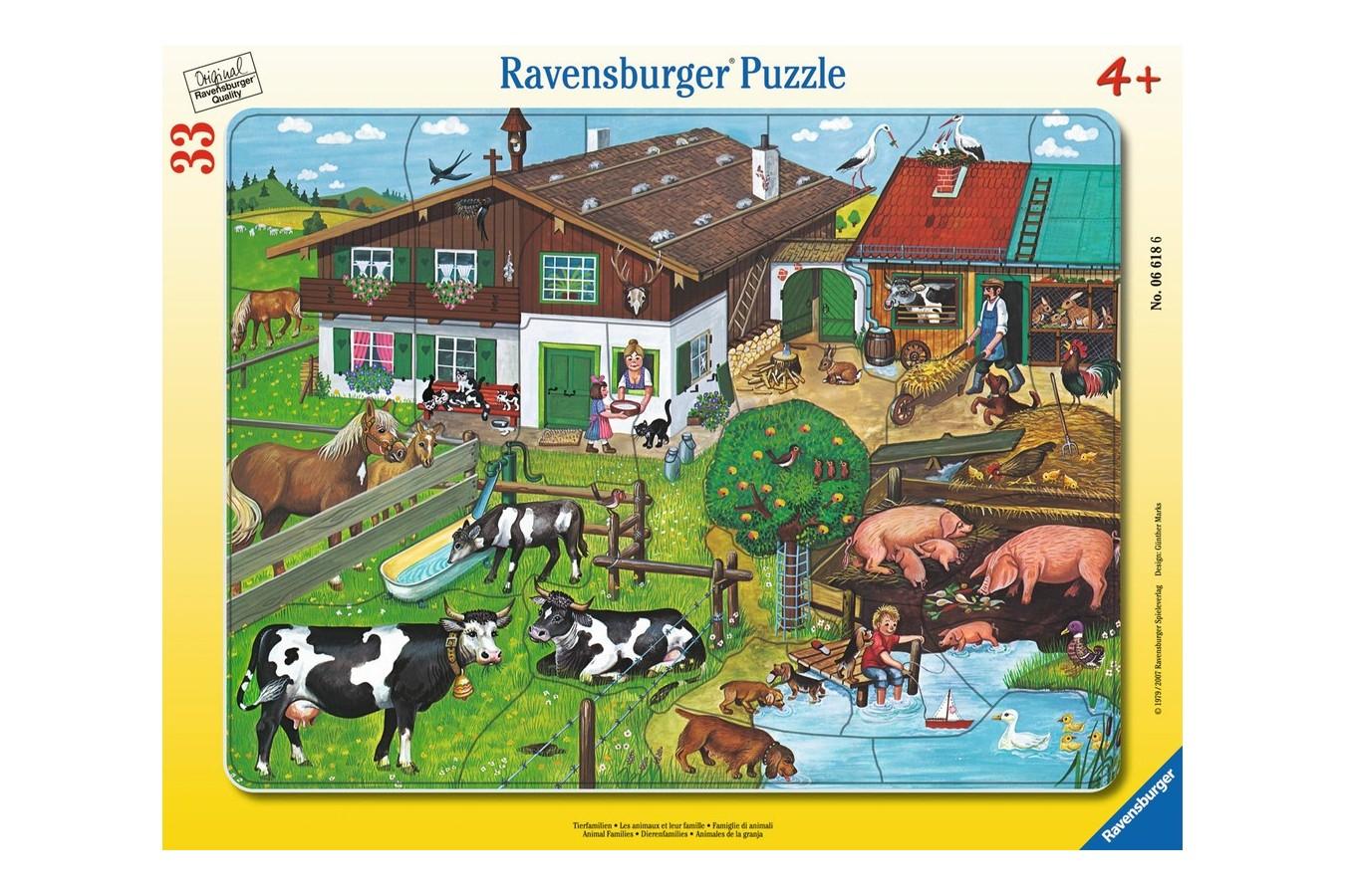 Puzzle Ravensburger - Familii De Animale, 33 piese (06618)