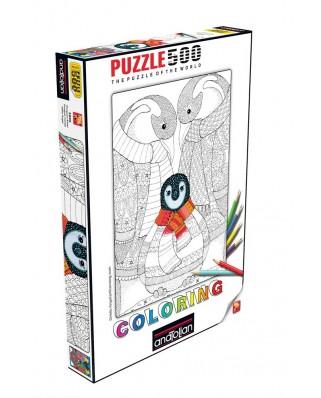 Puzzle de colorat Anatolian - Penguin Family, 500 piese (3595)