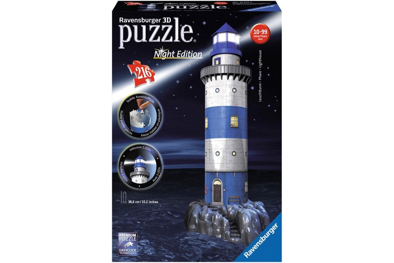 Puzzle 3D Ravensburger - Farul Noaptea, 216 piese (12577)