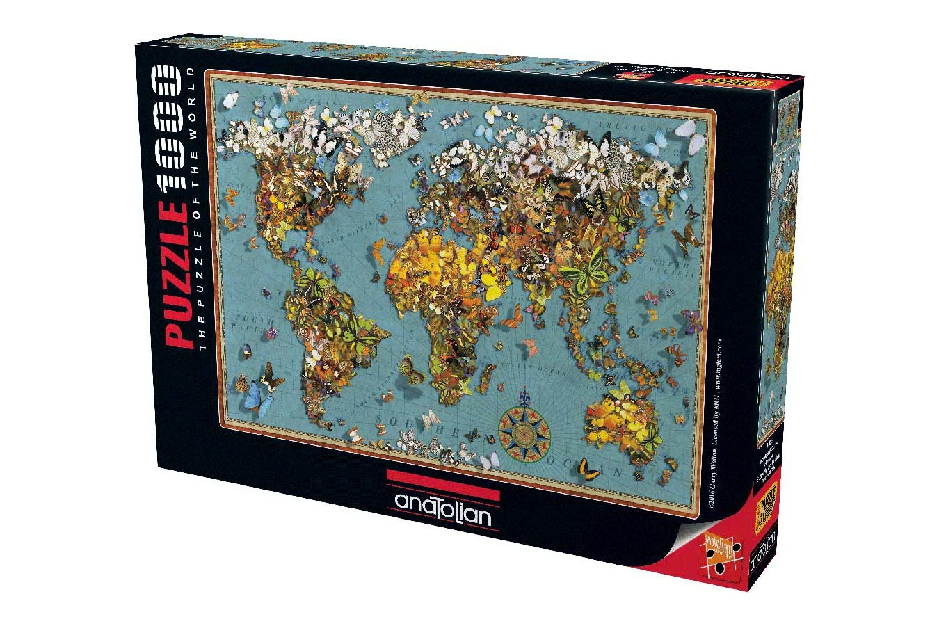 Puzzle Anatolian - Butterfly World Map, 1000 piese (1029)