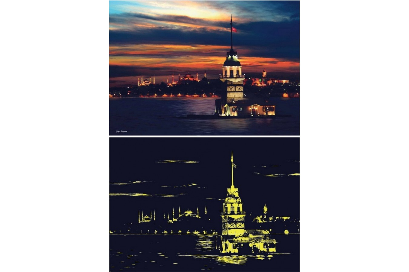 Puzzle Anatolian - Maiden's Tower, 1000 piese, fosforescent (1903)