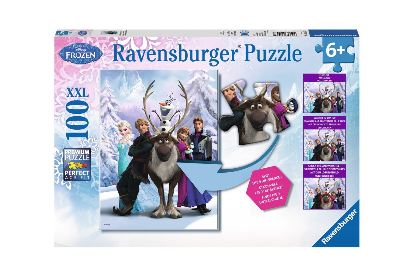 Puzzle Ravensburger - Frozen Gaseste Diferenta, 100 piese (10557)