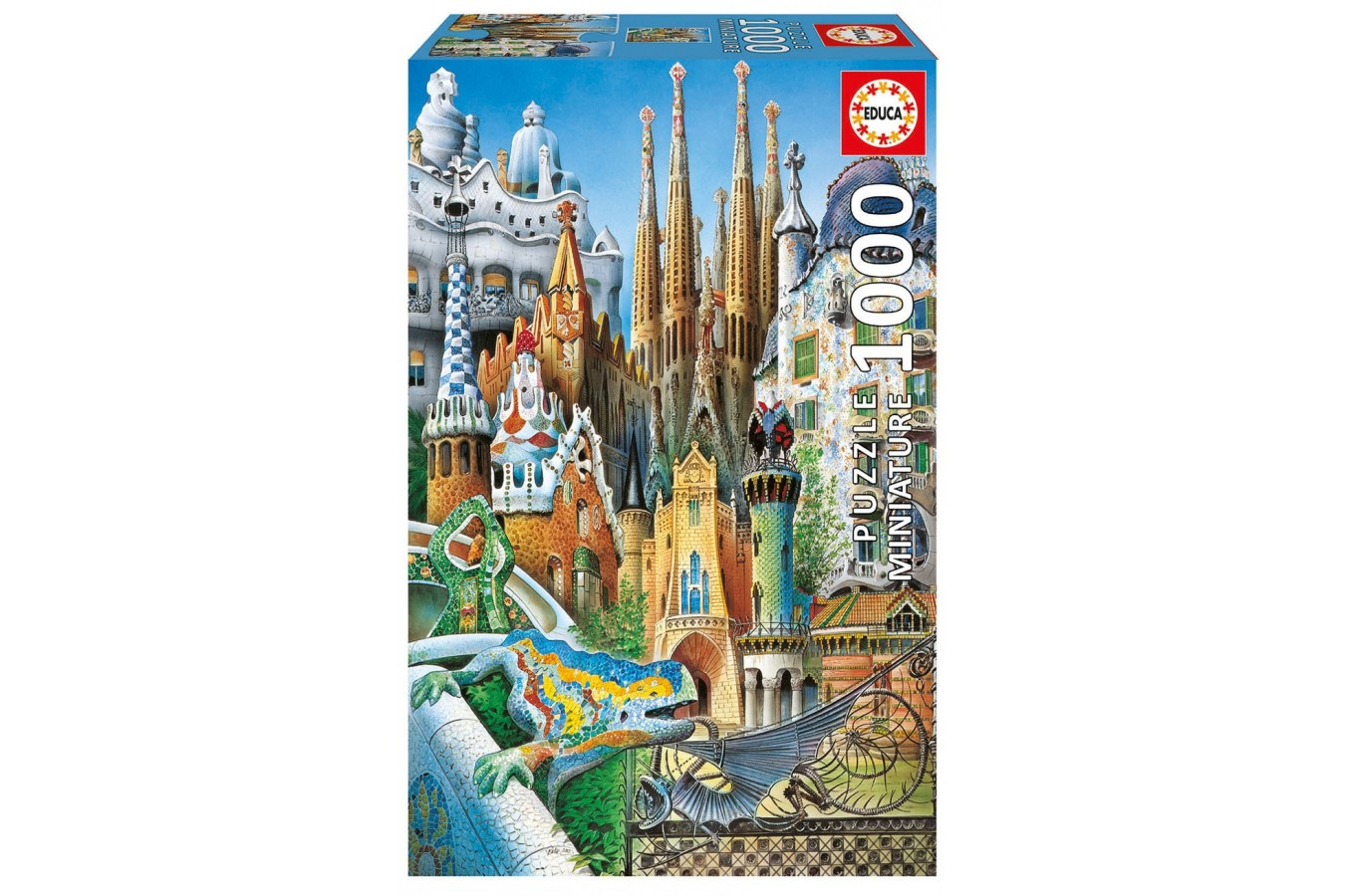 Puzzle mini Educa - Antoni Gaudi: Collage, 1000 piese, include lipici puzzle (11874)