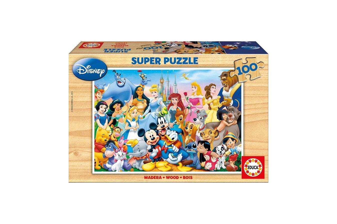 Puzzle din lemn Educa - Disney Family, 100 piese (12002)