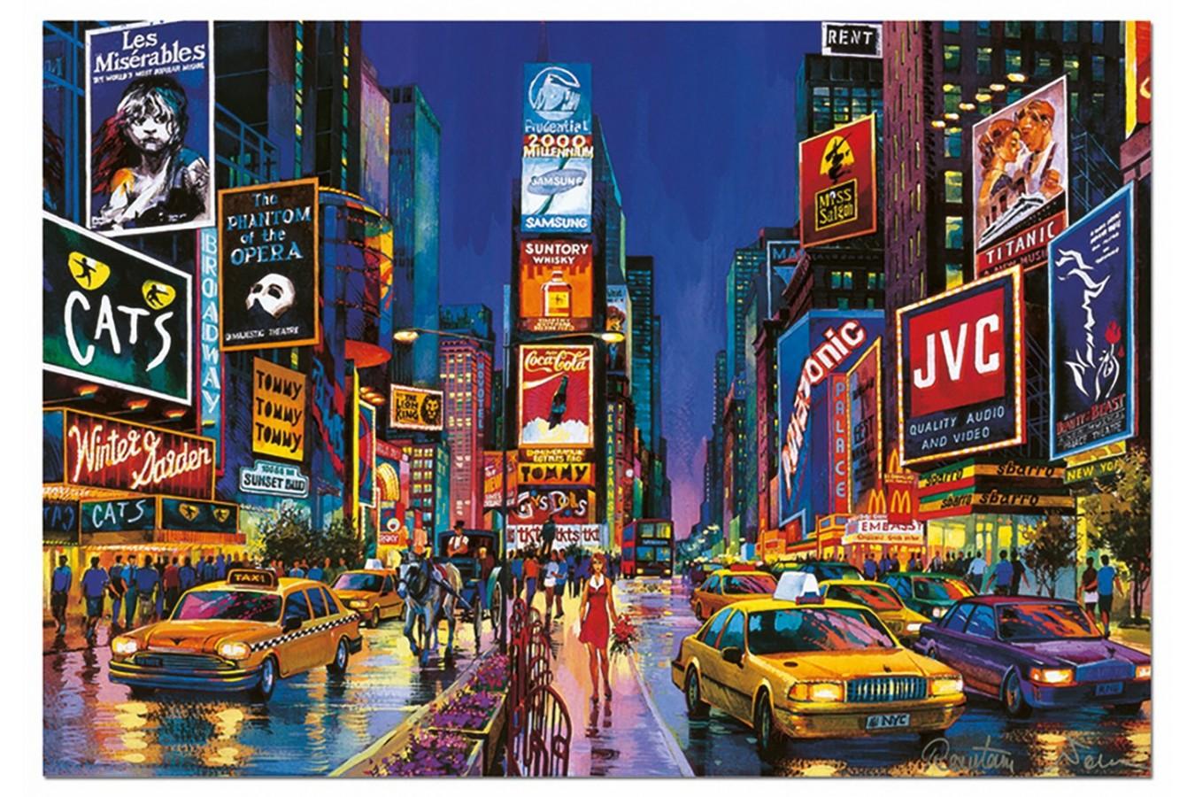 Puzzle fosforescent Educa - Times Square, 1000 piese, include lipici puzzle (13047)