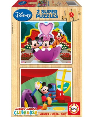 Puzzle din lemn Educa - Mickey Club, 2x9 piese (13467)