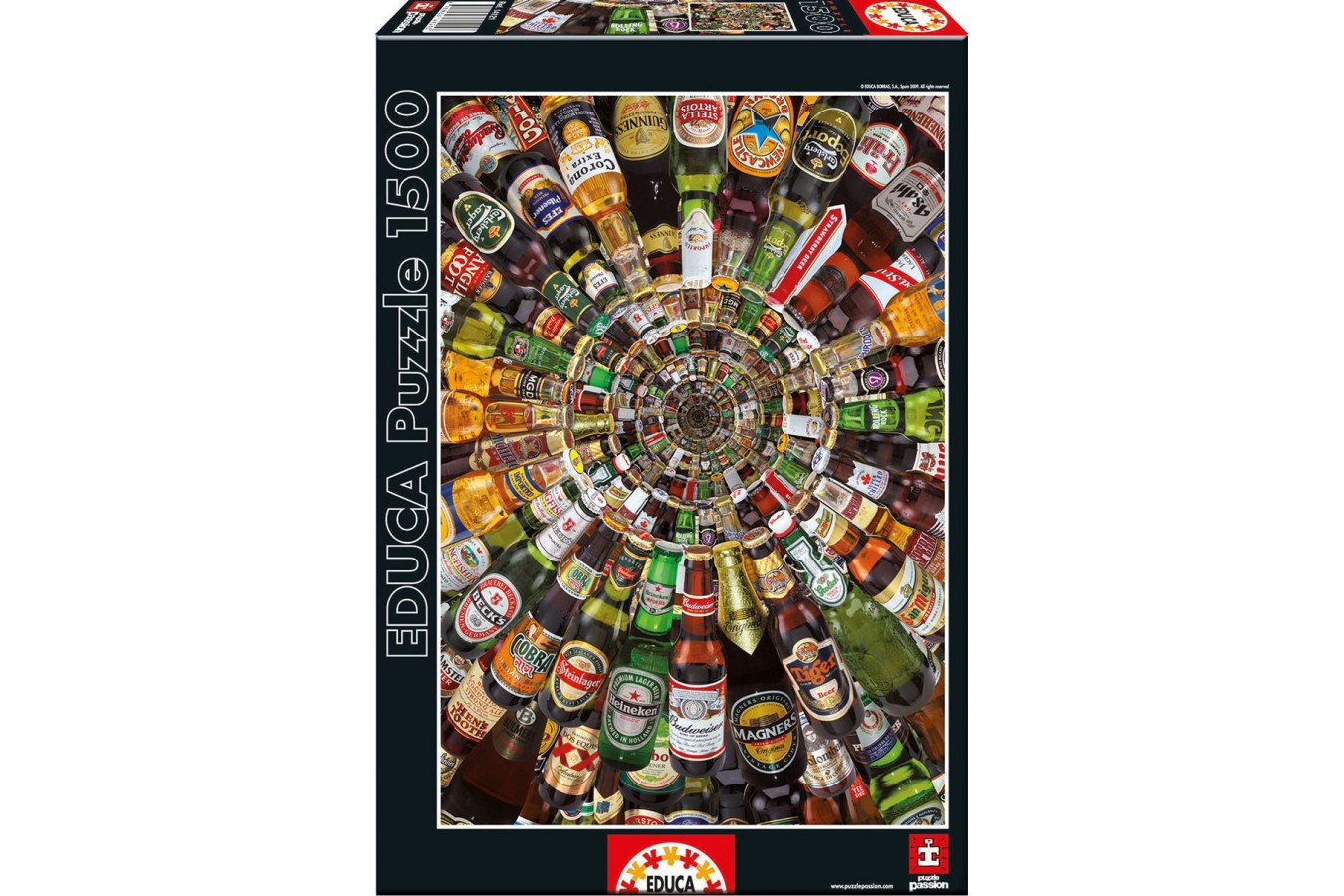 Puzzle Educa - Spiral of Cans of Beer, 1500 piese, include lipici puzzle (14121)