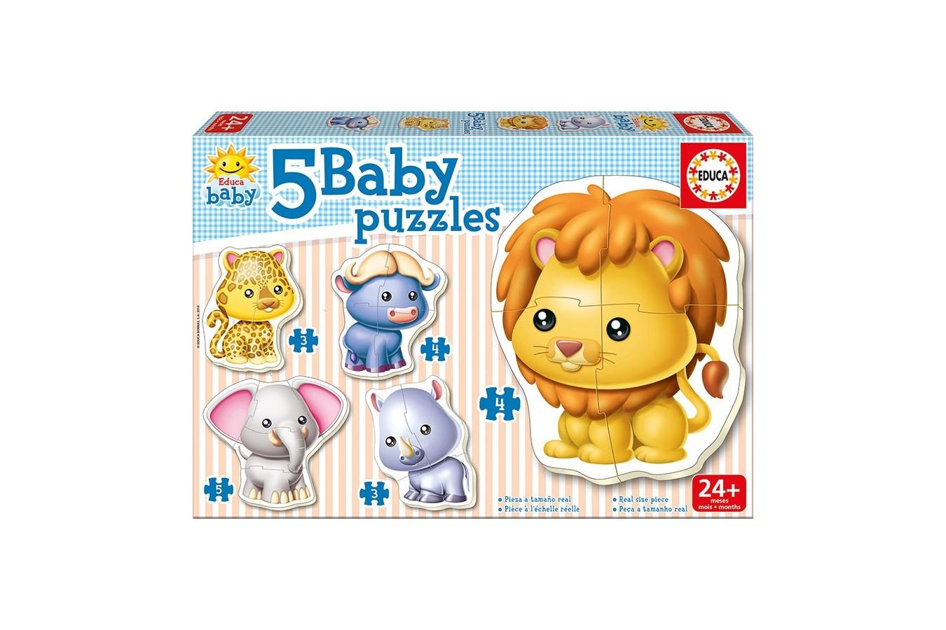 Puzzle Educa - Wild Animals, 3/3/4/4/5 piese (14197)