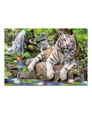 Puzzle Educa - White Bengale Tigers, 1000 piese, include lipici puzzle (14808)