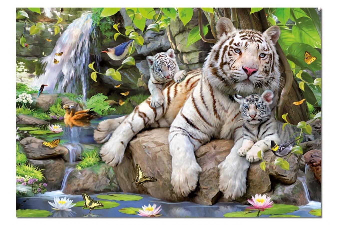 Puzzle Educa - White Bengale Tigers, 1000 piese, include lipici puzzle (14808)