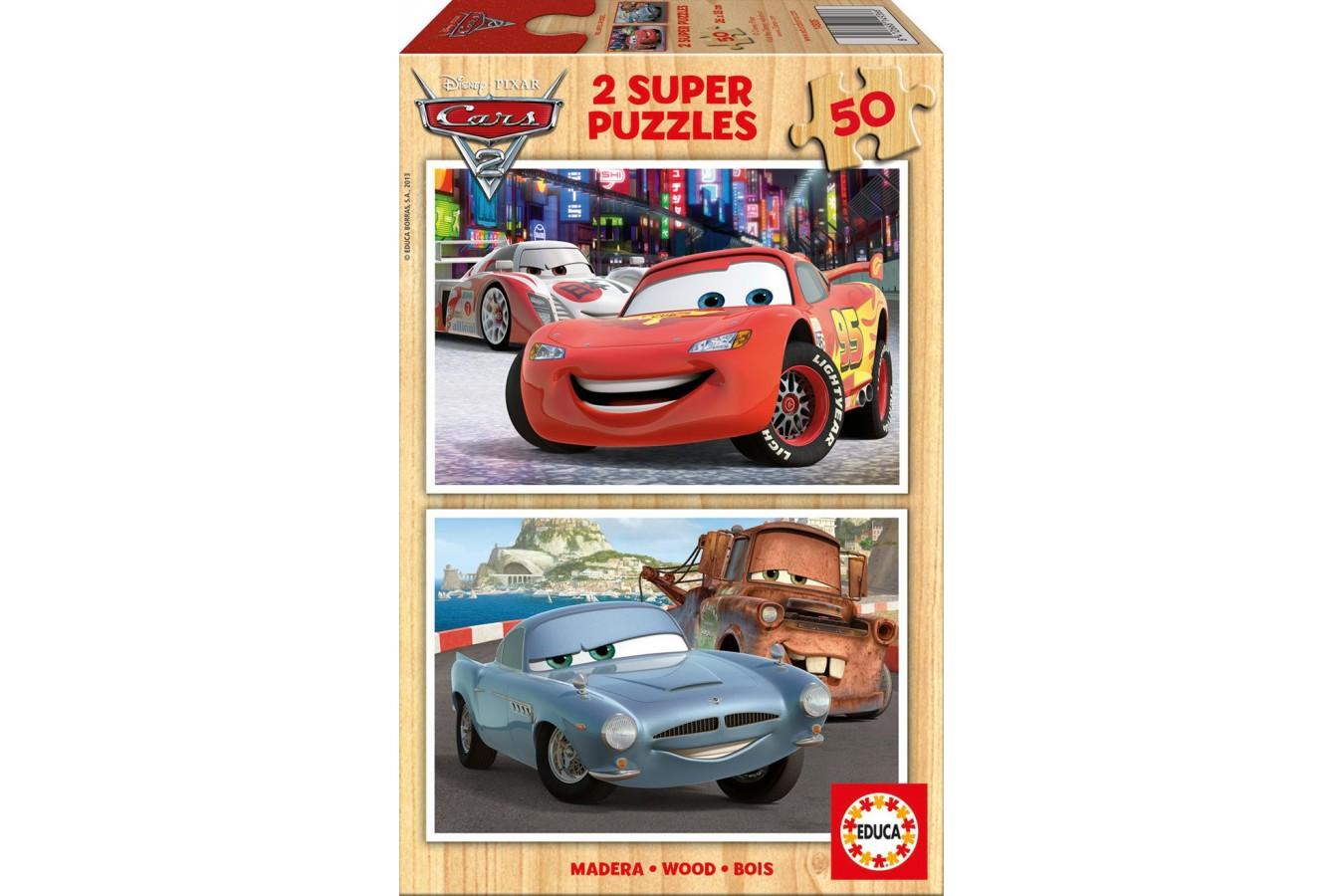 Puzzle din lemn Educa - Disney Cars 2: Flash McQueen, Martin, McMissile, 2x50 piese (14936)