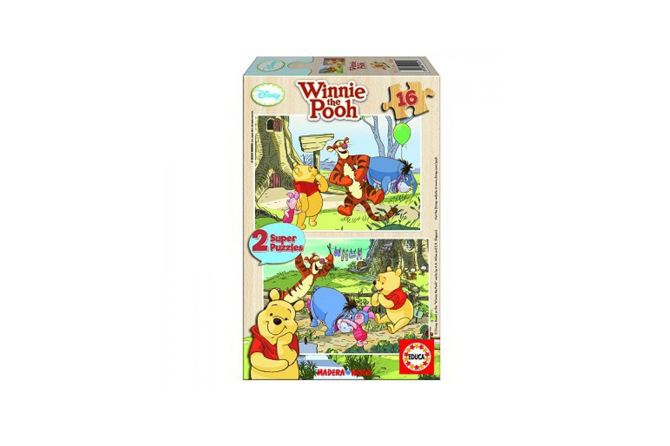 Puzzle din lemn Educa - Winnie the Pooh: In the Garden, 2x16 piese (14956)