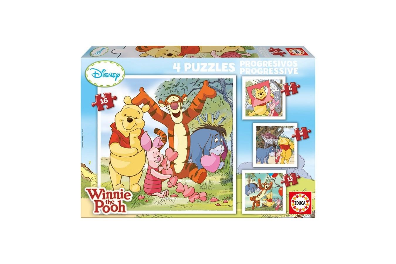 Puzzle Educa - Winnie the Pooh, 6/9/12/16 piese (14966)