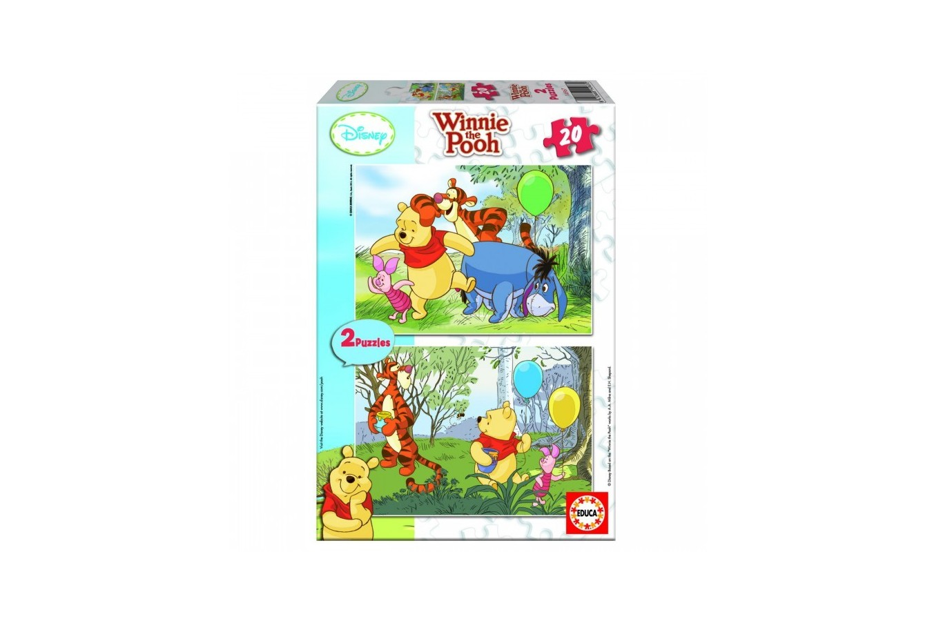 Puzzle Educa - Winnie the Pooh: Balloons, 2x20 piese (14967)