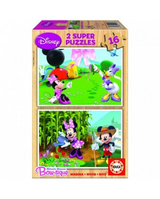 Puzzle din lemn Educa - Mickey and his Friends: Minnie, 2x16 piese (15278)
