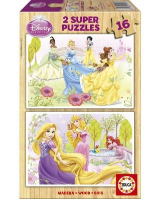 Puzzle din lemn Educa - Disney Princesses, 2x16 piese (15283)