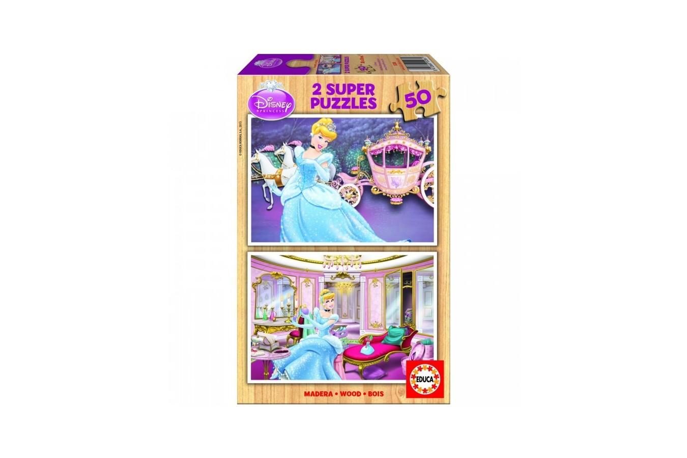 Puzzle din lemn Educa - Disney Princesses: Cinderella, 2x50 piese (15286)
