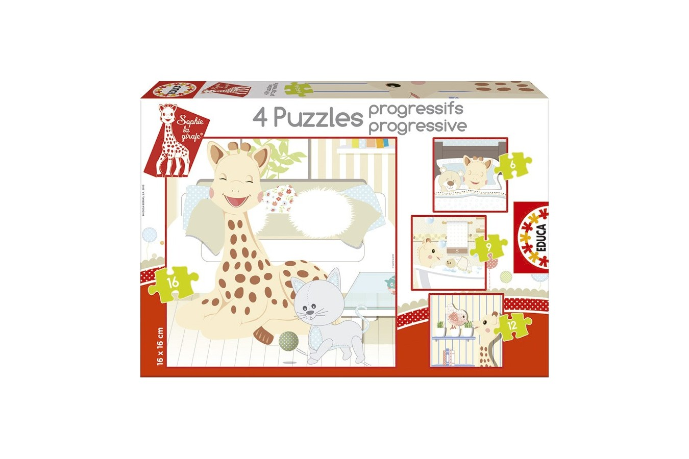 Puzzle Educa - Sophie the Giraffe, 6/9/12/16 piese (15491)