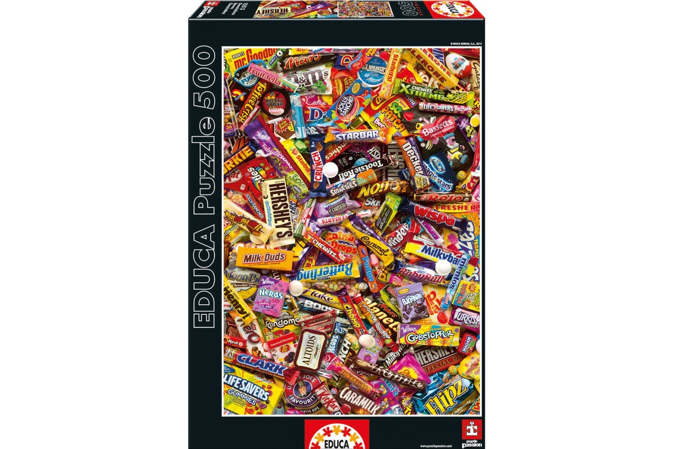 Puzzle Educa - Chocolate Bars, 500 piese, include lipici puzzle (15513)