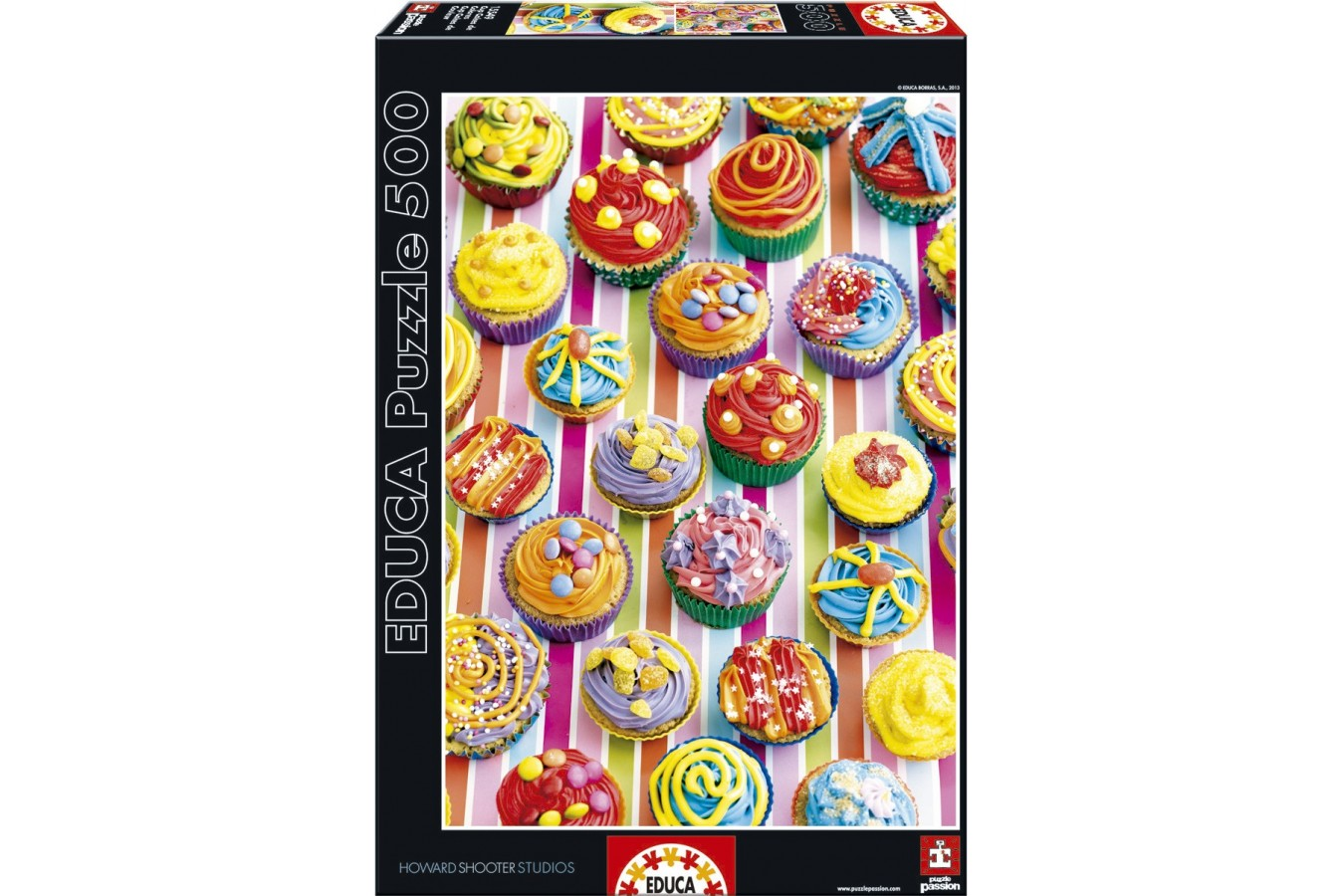 Puzzle Educa - Howard Shooter: Colourful Cupcakes, 500 piese (15549)