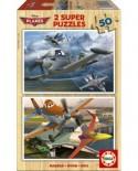 Puzzle din lemn Educa - Planes, 2x50 piese (15564)
