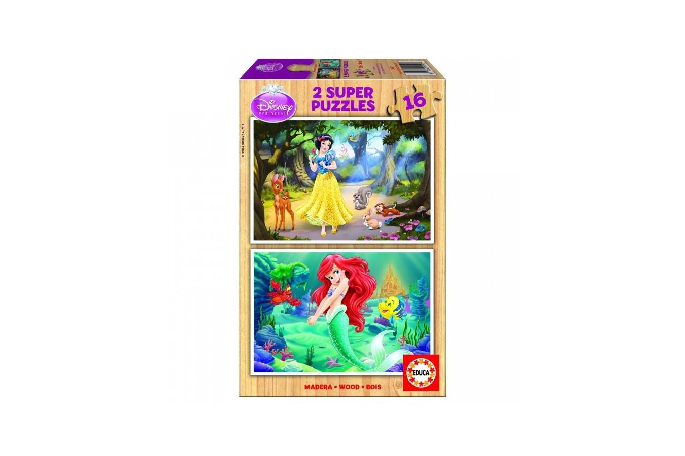 Puzzle din lemn Educa - Disney Princesses: Ariel and Snow-White, 2x16 piese (15590)