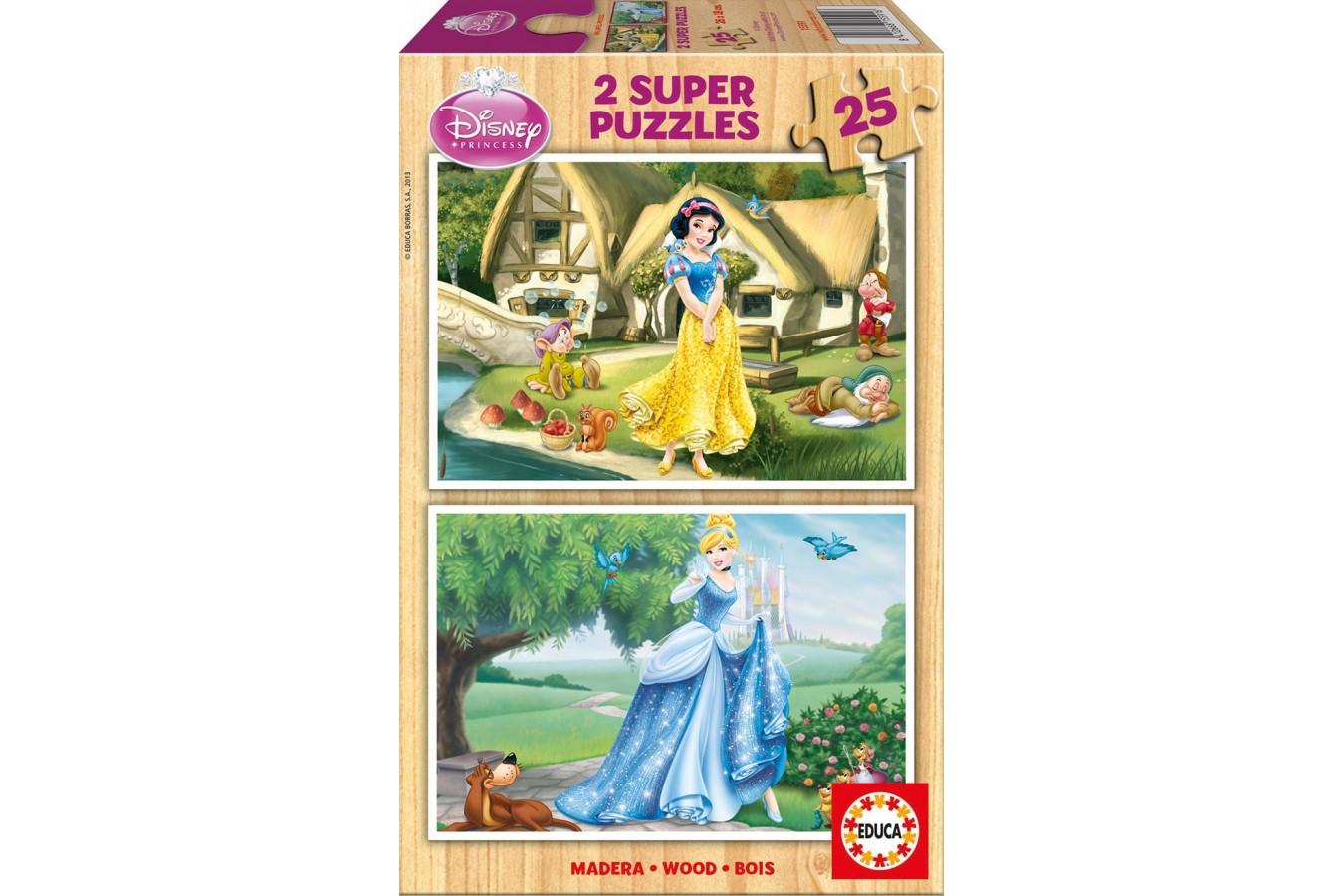 Puzzle din lemn Educa - Disney Princesses: Snow-White and Cinderella, 2x25 piese (15591)