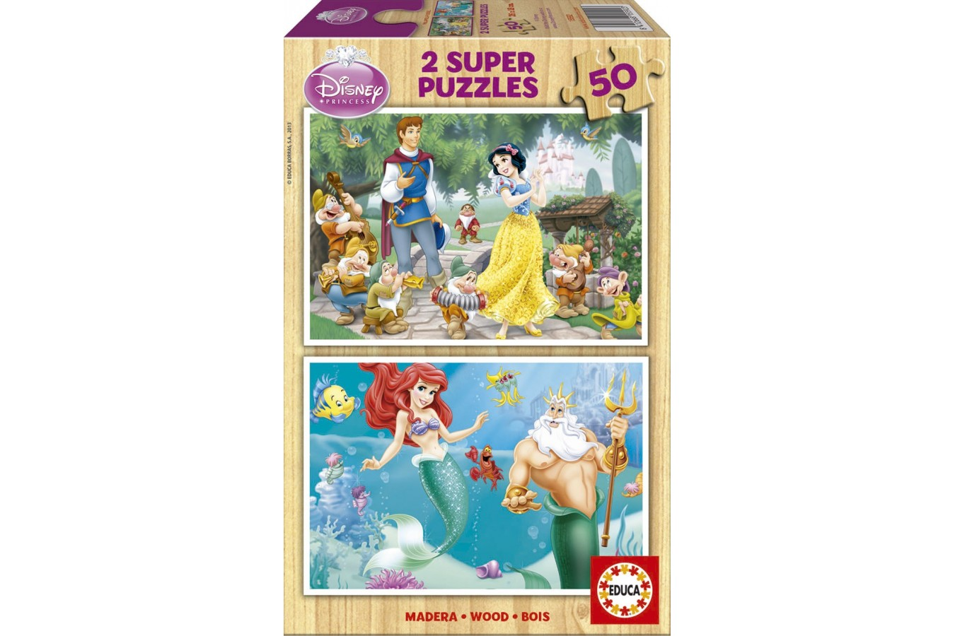 Puzzle din lemn Educa - Disney Princesses: Snow-White and Ariel, 2x50 piese (15592)