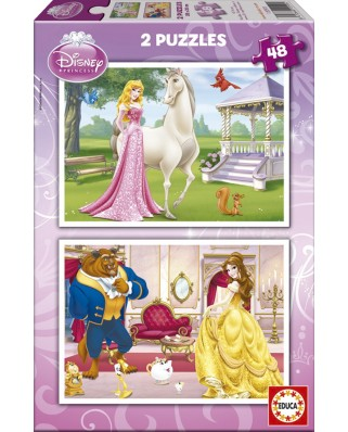 Puzzle Educa - Disney Princesses: Aurora and Belle, 2x48 piese (15595)