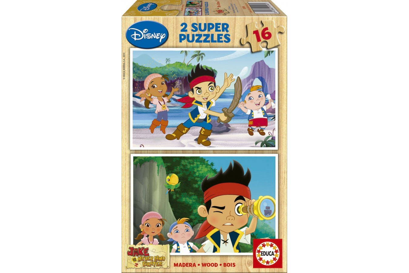 Puzzle din lemn Educa - Jake and the Neverland Pirates, 2x16 piese (15596)