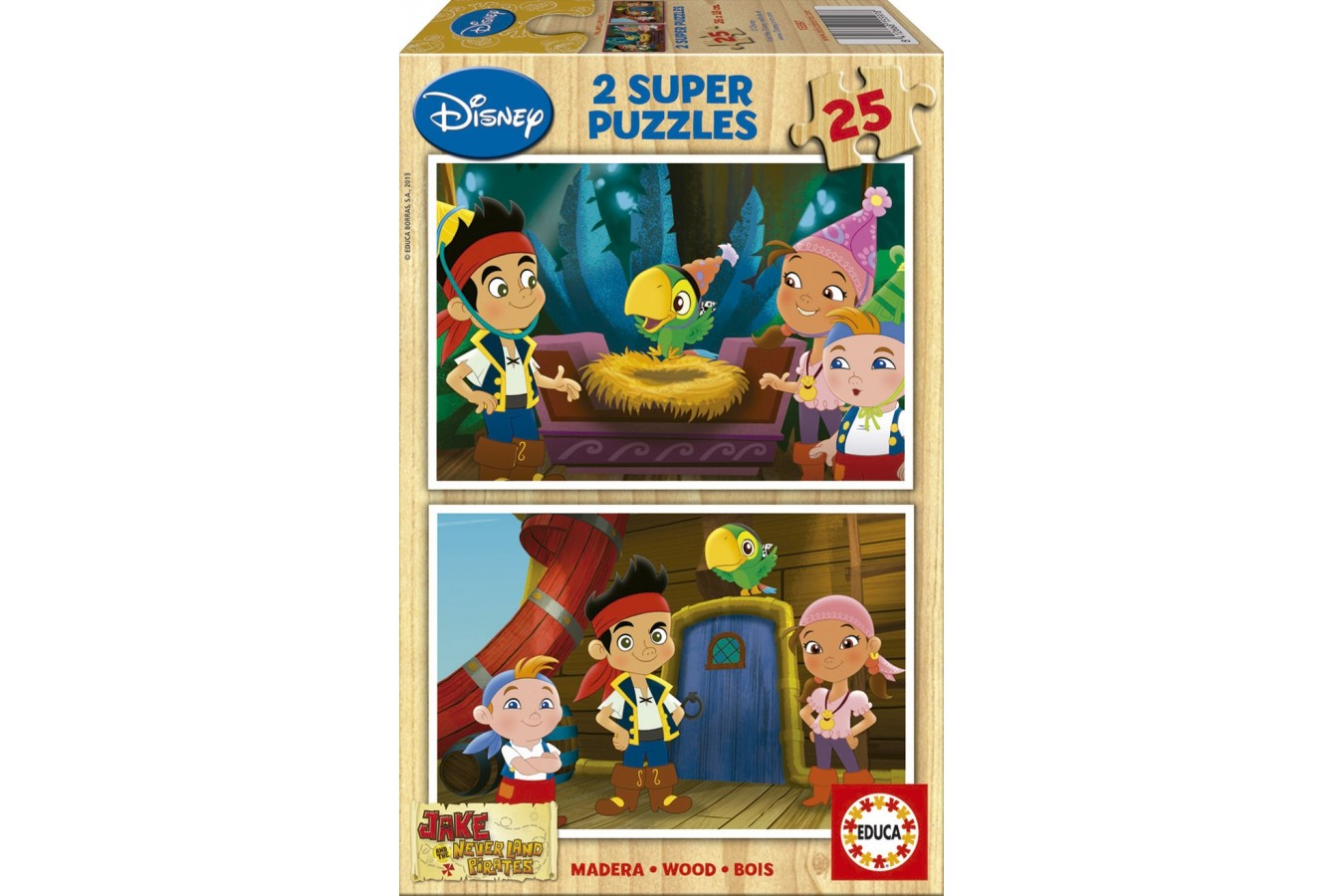 Puzzle din lemn Educa - Jake and the Neverland Pirates, 2x25 piese (15597)
