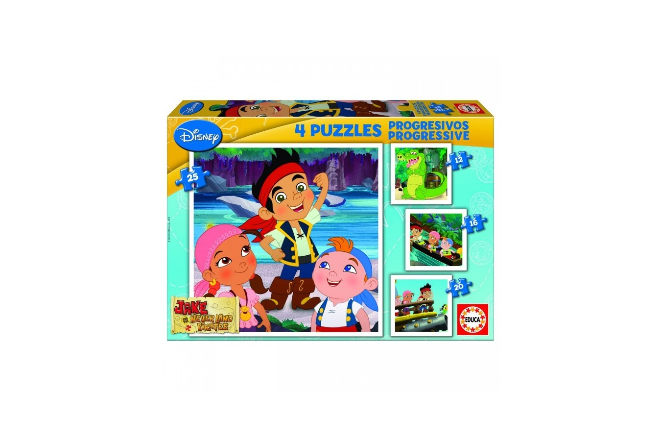 Puzzle Educa - Jake and the Neverland Pirates, 12/16/20/25 piese (15598)