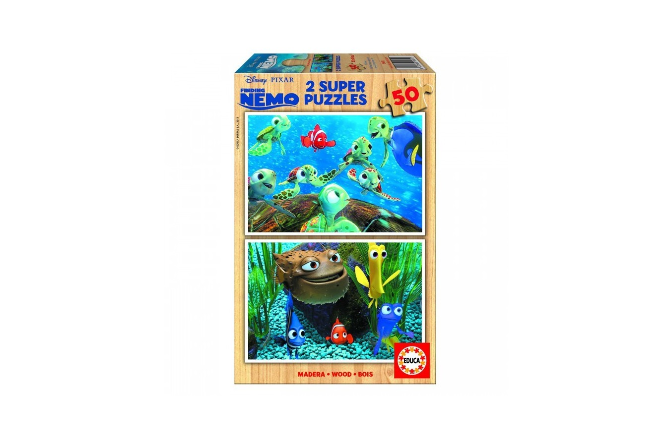 Puzzle din lemn Educa - Finding Nemo, 2x50 piese (15601)