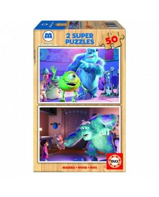 Puzzle din lemn Educa - Monsters Inc, 2x50 piese (15605)