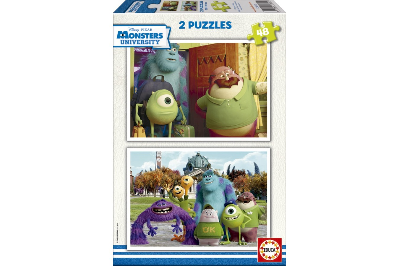 Puzzle din lemn Educa - Monsters Inc: Monsters University, 2x48 piese (15610)