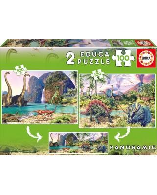 Puzzle Educa - Dino World, 2x100 piese (15620)