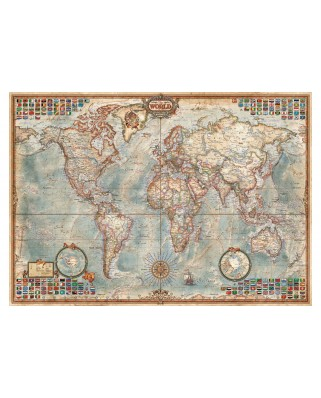 Puzzle Educa - The World, Political Map, 1500 piese, include lipici puzzle (16005)