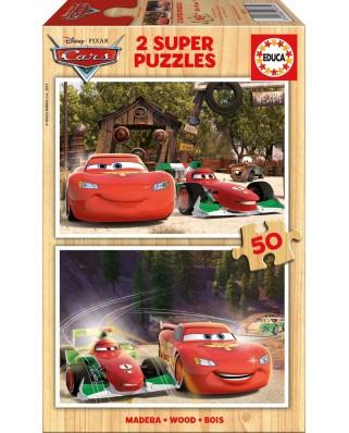 Puzzle din lemn Educa - Cars, 2x50 piese (16372)