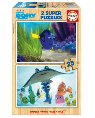 Puzzle din lemn Educa - Finding Dory, 2x25 piese (16694)