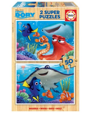 Puzzle din lemn Educa - Finding Dory, 2x50 piese (16695)