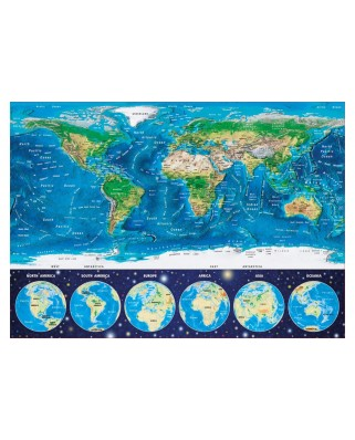 Puzzle Educa - Neon World Map, 1000 piese, include lipici puzzle (16760)