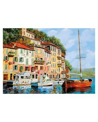 Puzzle Educa - La Barca Rossa alla Calata, Guido Borelli, 2000 piese, include lipici puzzle (16776)