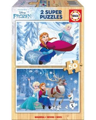 Puzzle din lemn Educa - Frozen, 2x50 piese (16802)